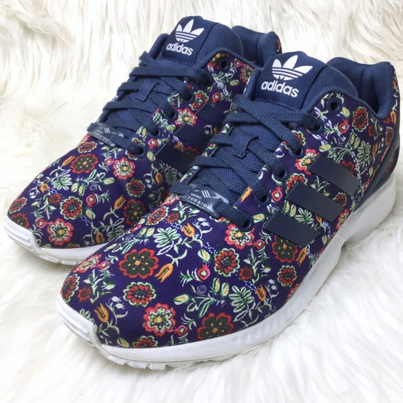 official photos 530d0 f0124 adidas Shoes - ADIDAS ZX Flux Torsion navy floral print sneakers